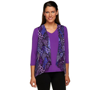 """As Is"" Bob Mackie's Animal Print Georgette Vest and T-Shirt Set - A280587"