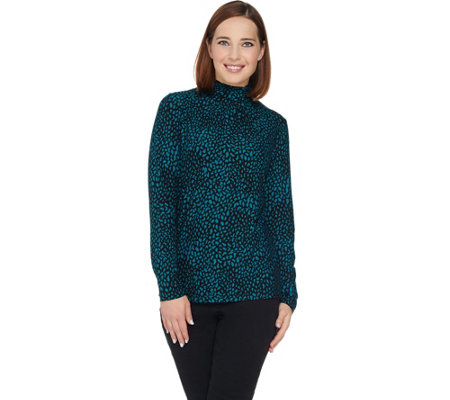 Susan Graver Printed Brushed Liquid Knit Turtleneck Top