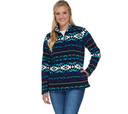 Denim & Co. Long Sleeve Printed Half Zip Pullover Fleece Top