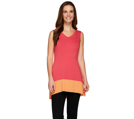 """As Is"" LOGO Layers by Lori Goldstein Knit Tank with Colorblock Band"