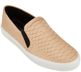 """As Is"" H by Halston Snake Embossed Leather Slip-On Sneaker - Susan - A284687"