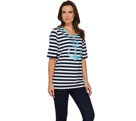"""As Is"" Quacker Factory Floral Anchor Striped V-Neck Elbow Sleeve T-shirt"