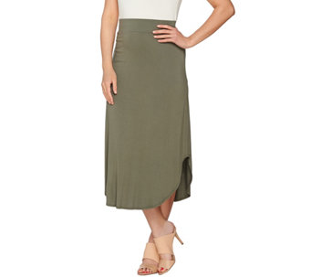 """As Is"" LOGO Layers by Lori Goldstein Knit Skirt with Curved Hem - A286287"