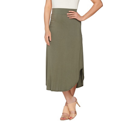 """As Is"" LOGO Layers by Lori Goldstein Knit Skirt with Curved Hem"