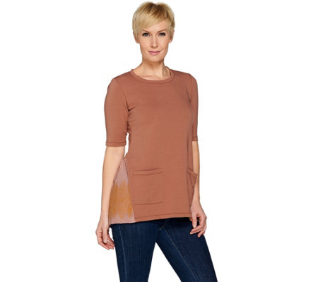 LOGO Lounge by Lori Goldstein Top w/ Woven Embroidered Back Panel