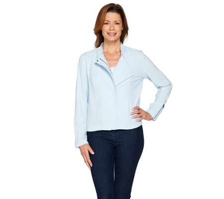 Lisa Rinna Collection Zip Front Textured Bomber Jacket