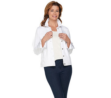 Kelly by Clinton Kelly Ponte Knit Jacket with Gingham Accents - A288287