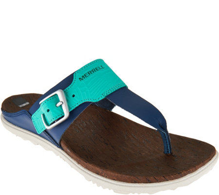 Merrell Leather T-Strap Sandals - Around Town Post Print
