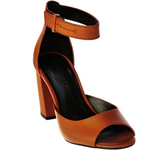 """As Is"" H by Halston Leather Block Heels w/ Adjustable Strap - Carina - A288987"