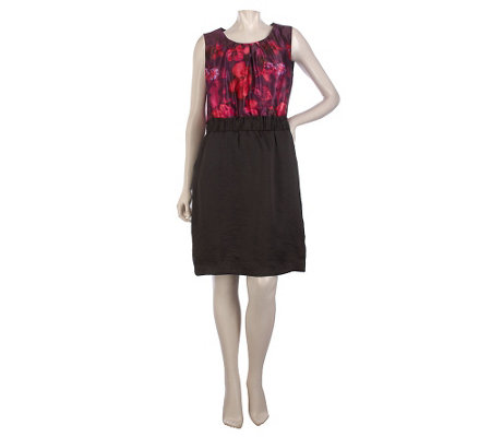 """As Is"" Kelly by Clinton Kelly_Floral Print Dress w/ Ruched Waist"