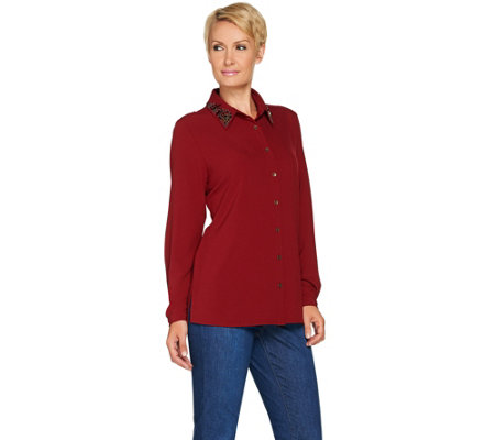 """As Is"" Susan Graver Artisan Stretch Woven Shirt with Embellishment"