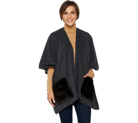 Joan Rivers Polar Fleece Ruana with Faux Fur Pockets