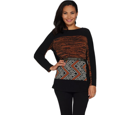 GRAVER Susan Graver Printed Textured Liquid Knit Top