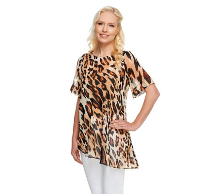 """As Is"" George Simonton Animal Print Chiffon Top with Asymmetric Hem"