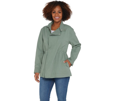 Martha Stewart Long Sleeve Zip Front Anorak Jacket