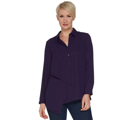 """As Is"" Joan Rivers Flowy Tunic w/Draped Front Panel"