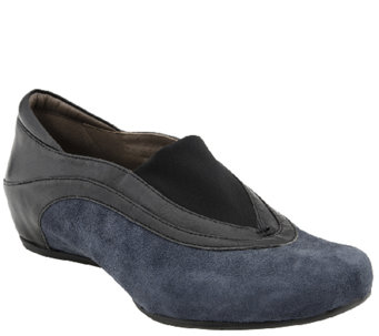 Earthies Leather & Suede Hidden Wedge Slip-on Shoes - Ferro - A338387