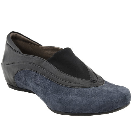 Earthies Leather & Suede Hidden Wedge Slip-on Shoes - Ferro