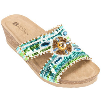 White Mountain Leather Slide Sandals - Best - A340187