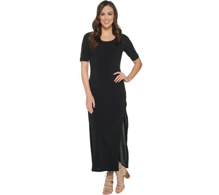 """As Is"" G.I.L.I. Regular Short- Sleeve Side Slit Maxi Dress"