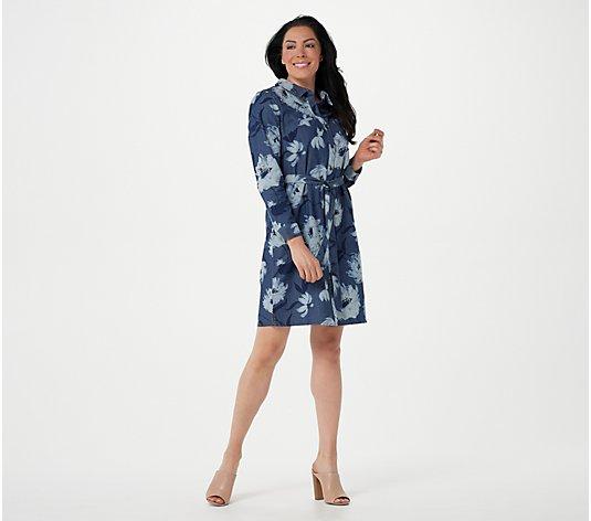 Isaac Mizrahi Live! TRUE DENIM Floral Printed Denim Shirt Dress ...