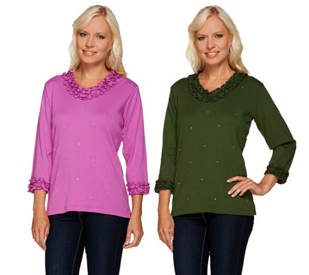 Quacker Factory Sparkle & Shine Set of 2 Lettuce Edge T-Shirts