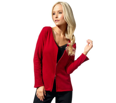 Susan Graver Sweater Knit V-Neck Double Zip Front Cardigan