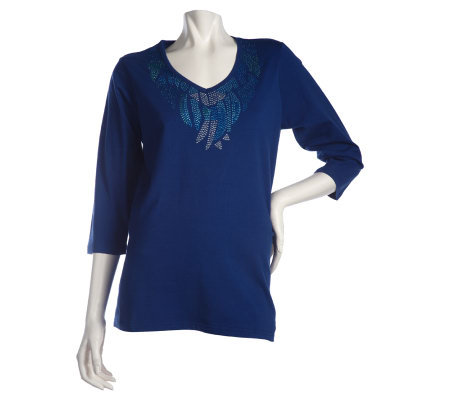 Quacker Factory Feathered Sparkle V-neck T-shirt