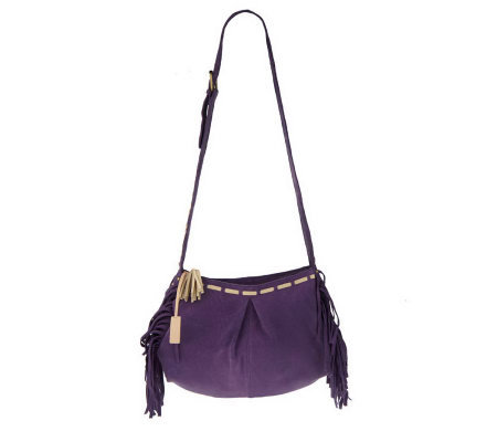 Muxo by Camila Alves Lamb Leather Shoulder Bag w/Fringe Detail