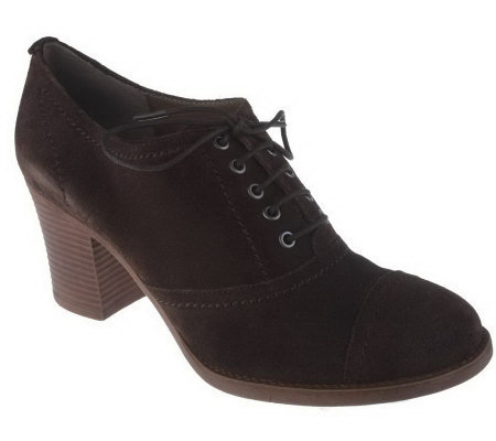 Tignanello Suede Lace-up Oxford Shooties on Stacked Heel