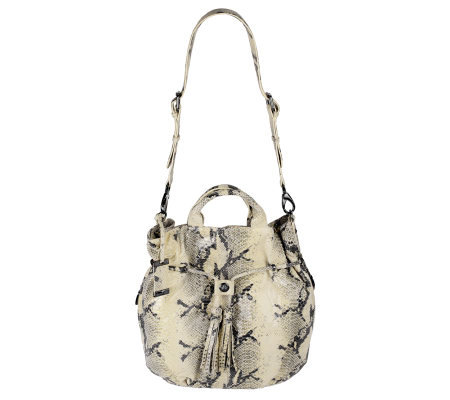 Dan Azan Python Embossed Leather Handheld Satchel