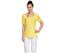 Liz Claiborne New York Scoop Neck Lace Sleeve T-shirt - A223988