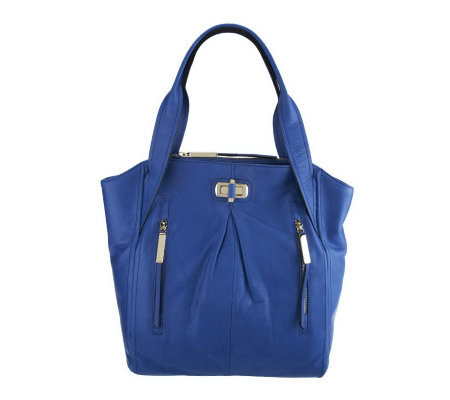 B. Makowsky Dunaway Glove Leather Tote w/ Zipper Pockets