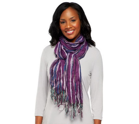 Layers by Lizden Striped Metallic Scarf with Fringe