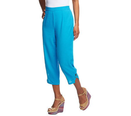 Susan Graver Weekend Cotton Crop Pants w/ Lattice Detail