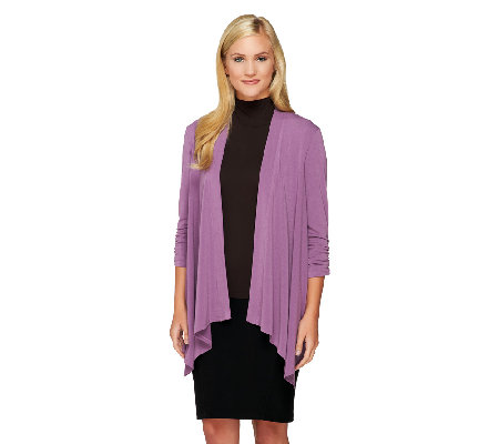 George Simonton Crystal Knit Drape Front Cardigan with Ruching