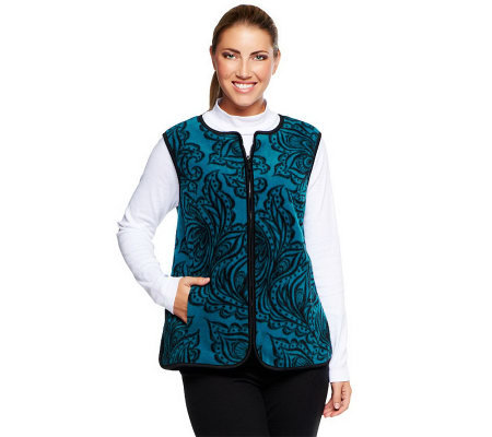 Bob Mackie's Printed Vest & Long Sleeve Mock Neck Top Set