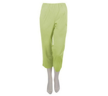 """As Is"" Susan Graver Stretch Cotton Sateen Side Zip Crop Pants"
