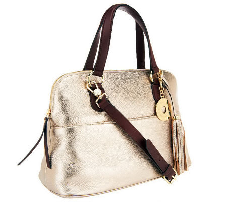 Isaac Mizrahi Live! Bridgehampton Leather Zip Top Satchel