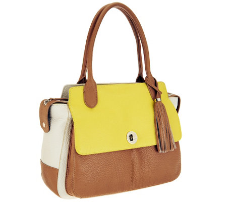 Isaac Mizrahi Live! Bridgehampton Colorblock Leather Satchel