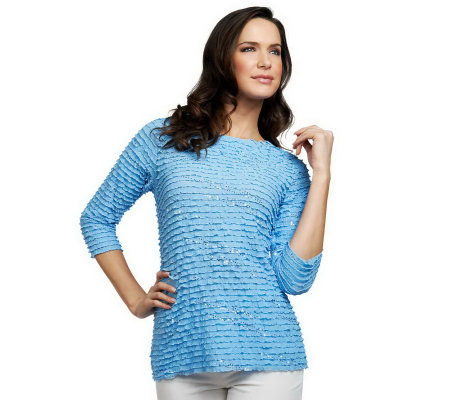 """As Is"" Susan Graver Ruffled Mesh 3/4 Sleeve Top with Sparkles"