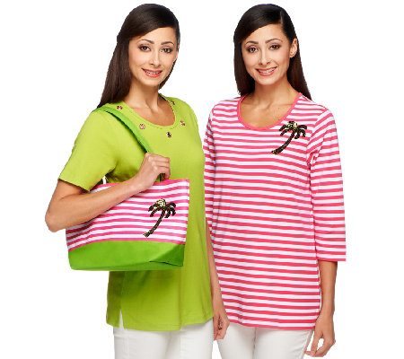 Quacker Factory Set of Two Summertime T-shirts and Tote