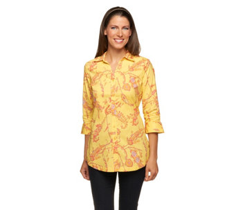 Liz Claiborne New York Button Down Paisley Printed Tunic - A252288
