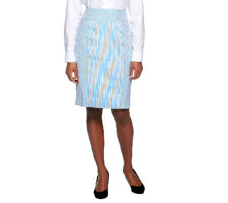 Star Jones Seersucker Pin Stripe Skirt