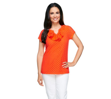 Isaac Mizrahi Live! Knit Lace Top with Ruffle Neckline