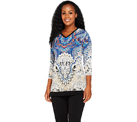 Susan Graver Printed Liquid Knit 3/4 Sleeve V-neck Tunic