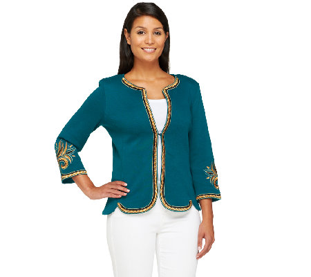 Bob Mackie's 3/4 Sleeve Golden Baroque Embroidered Knit Jacket