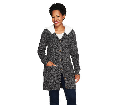 Denim & Co. Sweater Cardigan w/ Sherpa Trim
