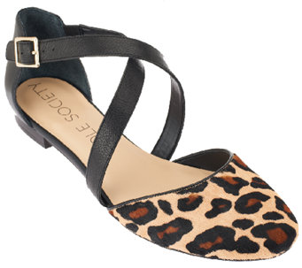 Sole Society Leather Flats w/ Criss Cross Strap Detail - Carmelle - A259488