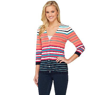 Liz Claiborne New York V-Neck Striped Cardigan